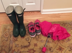 Running shoes, wellies, and umbrella - necessities for the day!