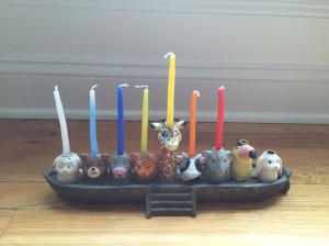 Noah's Ark menorah waiting to be lit