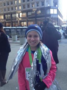 At the finish line of my first half marathon!