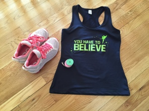 "Running shoes, racerback tank, and ribbons (for a hair bow!) for the Disney Half Marathon...all New Year's ""R""s!"