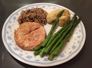Served as a side with a salmon burger, brown rice and quinoa, and grilled asparagus