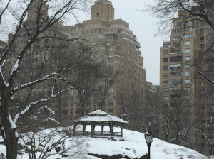 The snow-capped gazebo lends a little air of the woods to this urban oasis