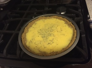 Quiche with egg mixture poured in