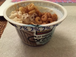 2% Greek yogurt with apple cinnamon O's
