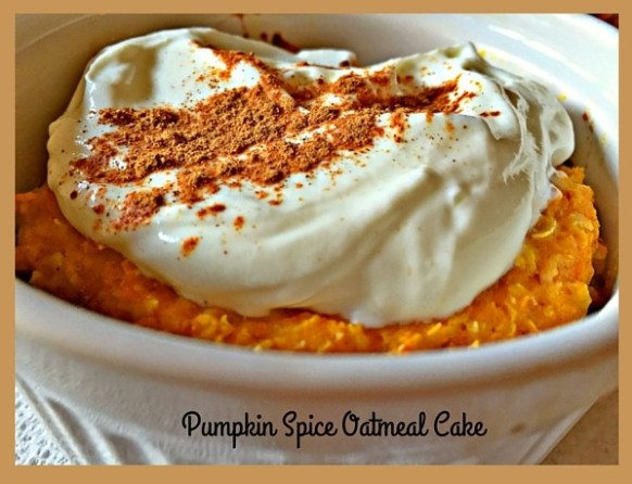 A gluten free pumpkin spice oatmeal cake for one, perfect to make and make while you get ready for an autumn day.