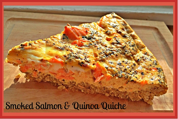 A deliciously grain free, dairy free Smoked Salmon and Quinoa Quiche.