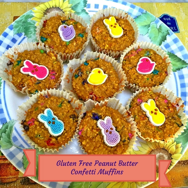 Peanut Butter Confetti Muffins, gluten free, colorful, and ready to knock your socks off!