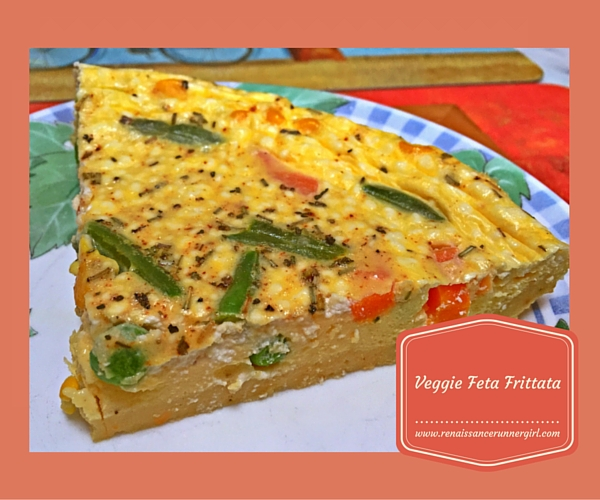 A gluten free, protein packed Veggie Feta Frittata, perfect to make ahead and slice up for breakfast and lunch during the week.