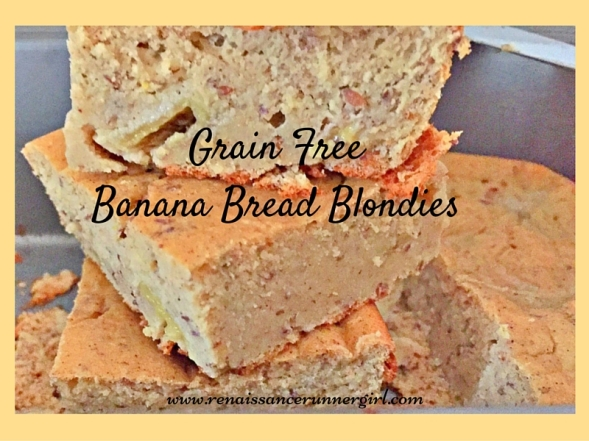 Deliciously dense, moist banana bread blondies, grain free, dairy free, and a perfect winter treat.