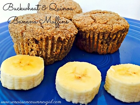 Grain, gluten and dairy free banana muffins made with quinoa flakes and buckwheat flour, hearty and delicious.