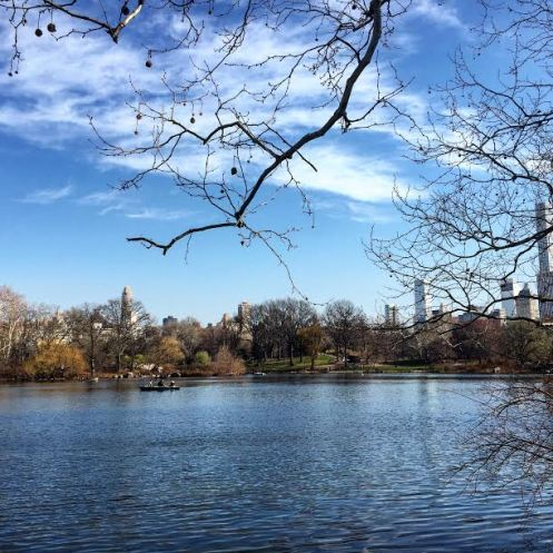 central park lake in march